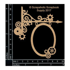 Scrapaholics - Laser Cut Chipboard 1.8mm Thick - Steampunk Hanging Sign, 4X3.75in.