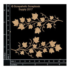 Scrapaholics - Laser Cut Chipboard 1.8mm Thick - Ivy Vine Spray, 2 pack, 4X1.75in.