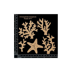 Scrapaholics - Laser Cut Chipboard - 1.8mm Thick Coral Pieces, 5 pack, 1.5 inch-2.5 inch