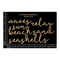 Scrapaholics - Laser Cut Chipboard 1.8mm Thick - Beach Words, 5 pack, 6 - 1.5in.