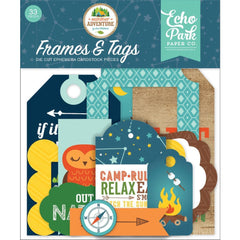 Echo Park Cardstock Ephemera 33 pack Frames & Tags, Summer Adventure