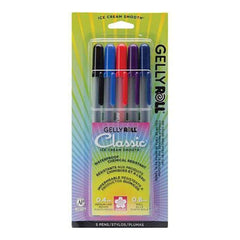 Sakura  Gelly Roll Medium Point Pens 5 Pack Black Blue Red Purple & Royal Blue