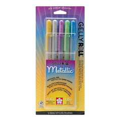 Sakura Gelly Roll Metallic Medium Point Pens 5 Pack Gold Silver Blue Emerald & Purple