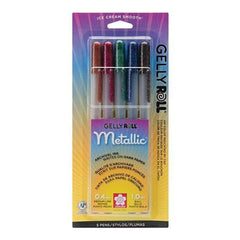 Sakura Gelly Roll Metallic Medium Point Pens 5 Pack Sepia, Burgundy, Hunter, Blue, & Black