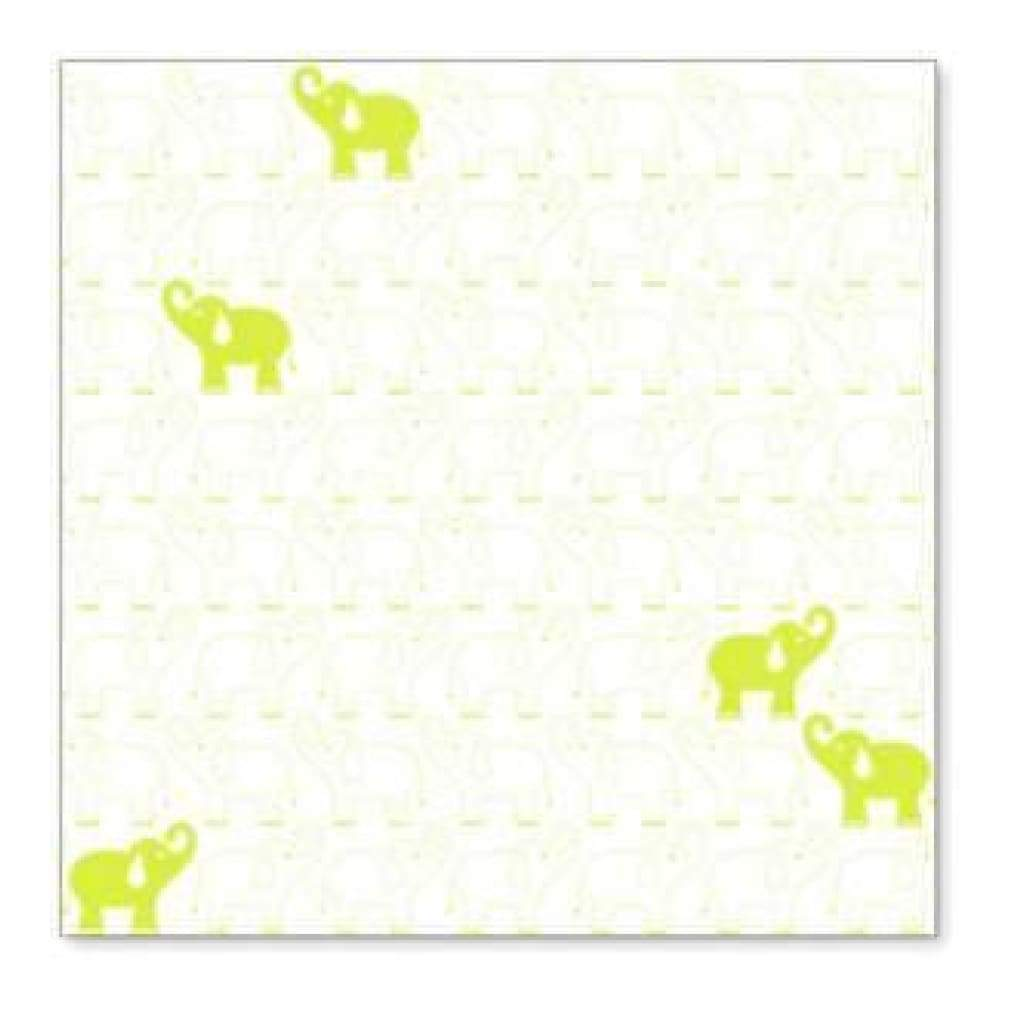Sale Item - Hambly Screen Prints - Elephants In A Row Overlay - Lime Green  - Si