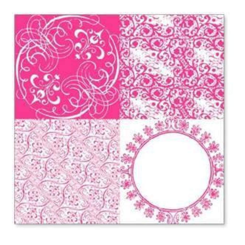 Sale Item - Hambly Screen Prints - Vintage Patchwork Overlay - Pink  - Single 12