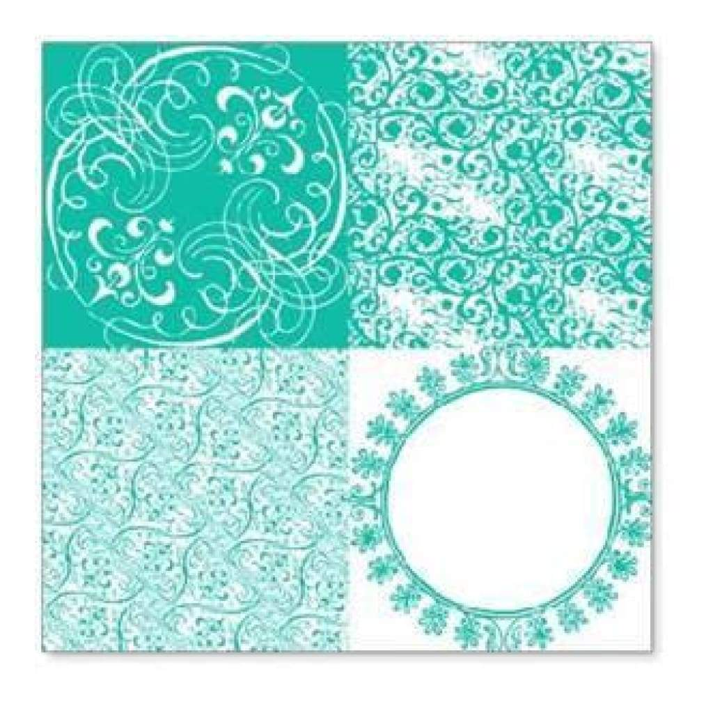 Hambly Screen Prints - Vintage Patchwork Overlay - Teal Blue  - Sing
