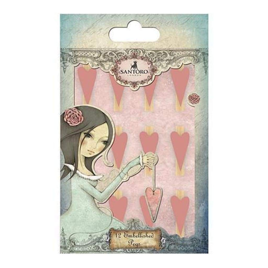 Santoro Mirabelle 3 Wooden Mini Pegs 12 Pack Pink Heart Clothespins