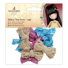 Santoros Gorjuss Ribbon Trim Bows 12 pack Blue, Pink, Cream