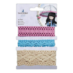 Santoros Gorjuss Trim 3 pack Blue, Pink & Cream/1m Each