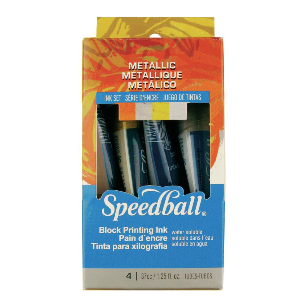 Speedball Art - Block Ink Set 4 Pack - Metallic Set