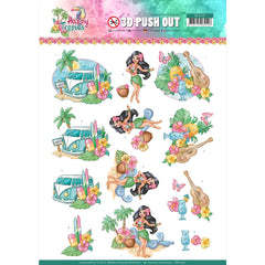 Find It Trading - Yvonne Creations Punchout Sheet - Tropical Holiday, Happy Tropics