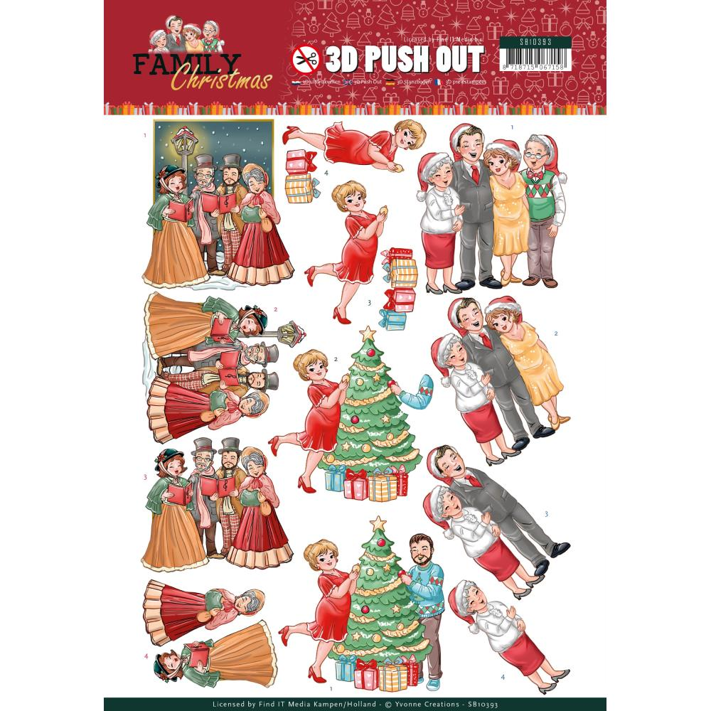 Find It Trading Yvonne Creations Punchout Sheet - Celebrate Christmas, Family Christmas