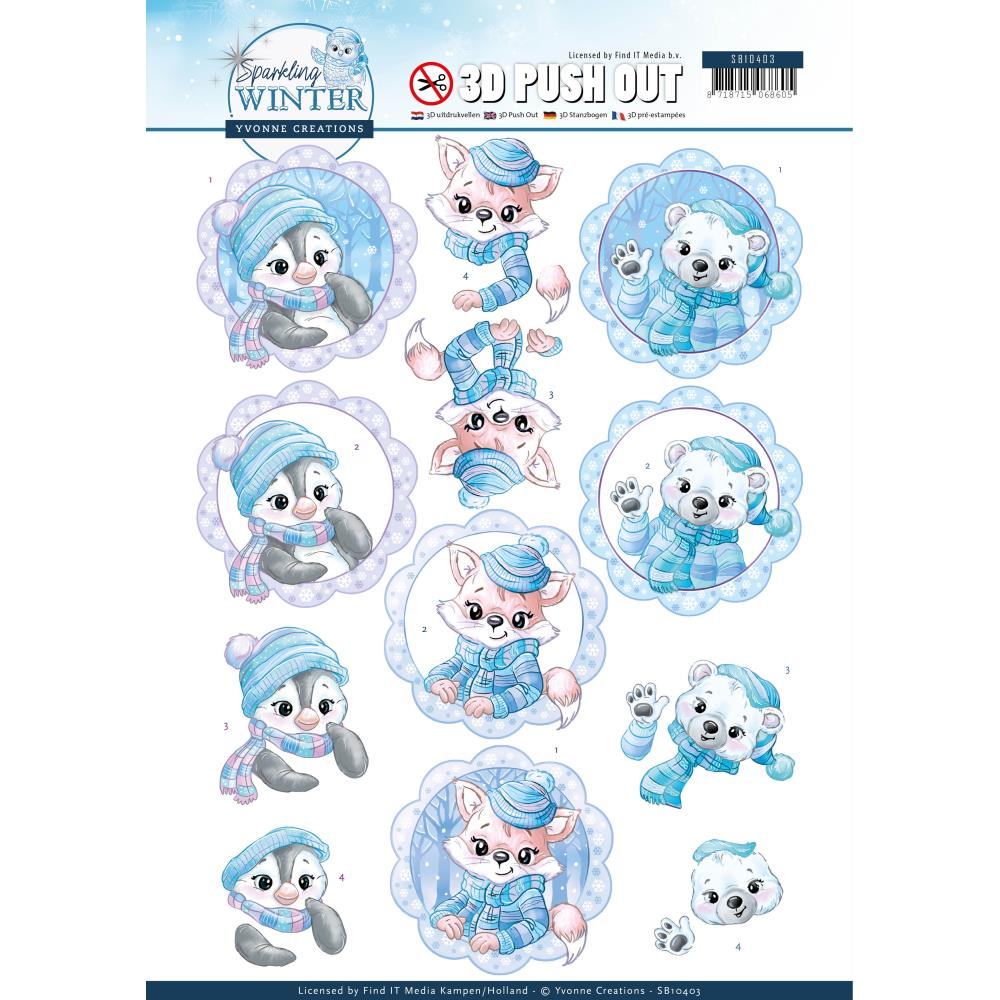 Find It Trading Yvonne Creations Punchout Sheet - - Winter Friends, Sparkling Winter