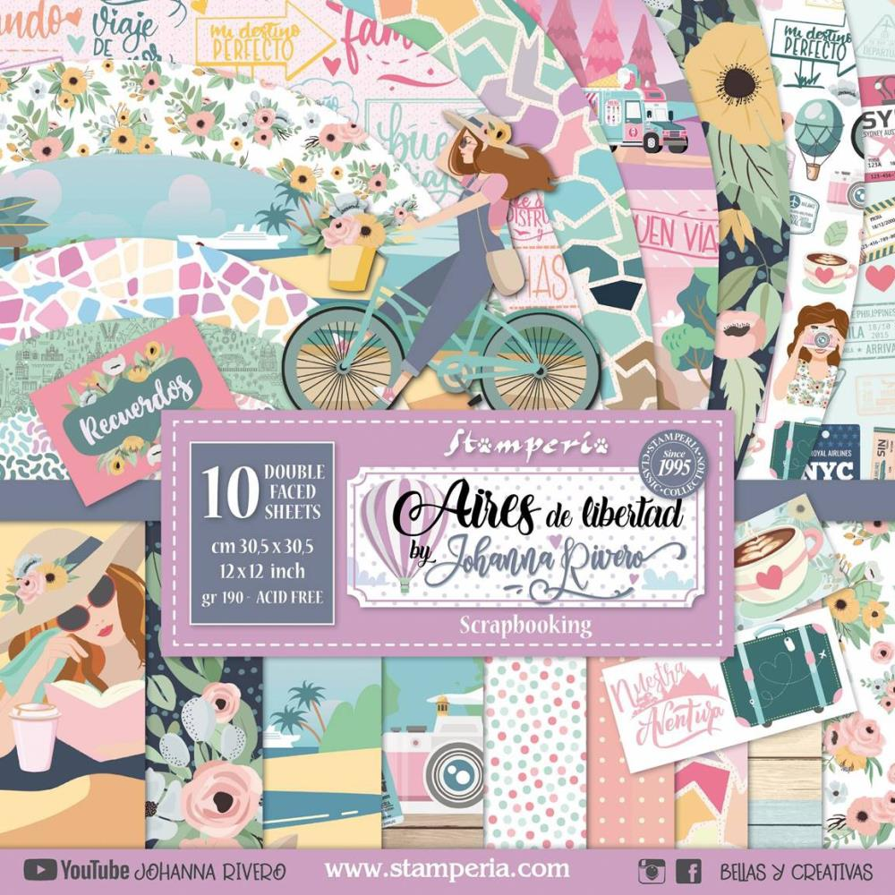 Stamperia Double-Sided Paper Pad - 12 inchX12 inch 10 pack - Aires de Libertad By Johanna Rivero