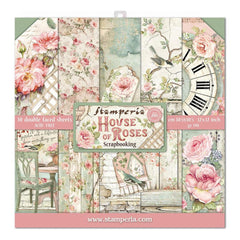 Stamperia Double-Sided Paper Pad 12in x 12in 10 pack - House Of Roses, 10 Designs/1 Each