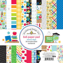 Doodlebug - Double-Sided Paper Pad 6 inch X6 inch - 24 pack - School Days, 12 Designs/2 Each