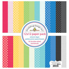 Doodlebug - Petite Prints Double-Sided Cardstock 12X12 inch 12 pack - School Days