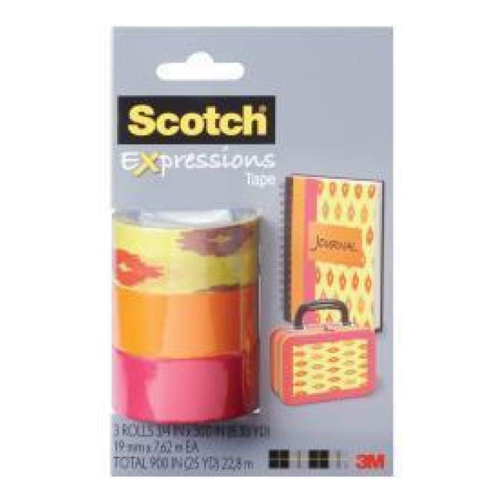 "Scotch Expressions Tape Removable .75""X300"" 3/Pkg Sherbert, Orange And Pink"