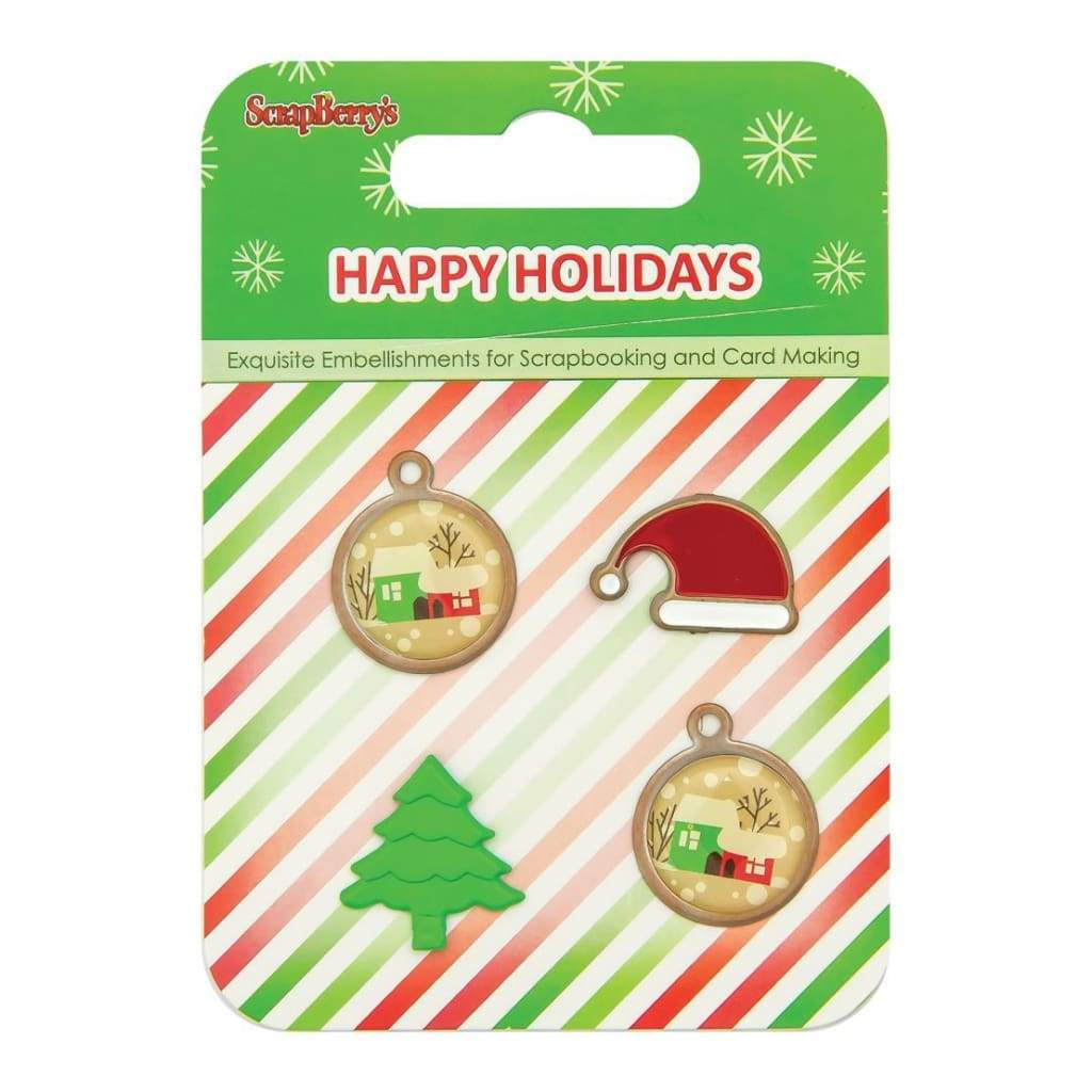 ScrapBerrys Happy Holidays Metal/Epoxy Embellishments 2 Charms, Santa Hat & Tree