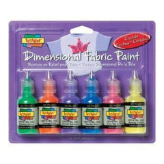 Scribbles 3D Fabric Paints 1Oz 6 Pack Crystal