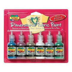 Scribbles 3D Fabric Paints 1Oz 6 Pack Glitter