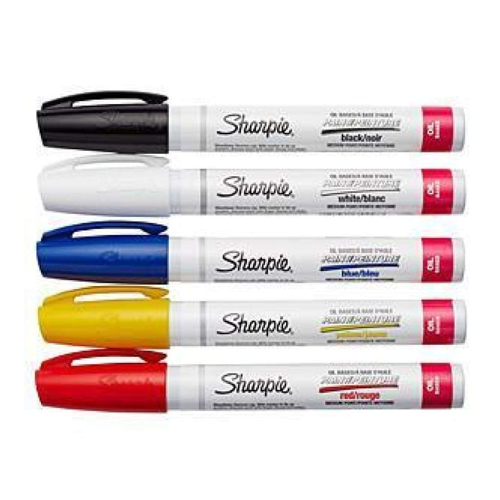 Sharpie Medium Point Oil-Based Paint Markers 5 Pack Black blue yellow red & white