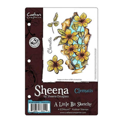 Sheenas A Little Bit Sketchy EZMount Stamps 5.5 inch X8.25 inch - Clematis