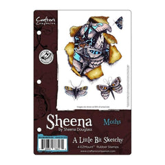 Sheenas A Little Bit Sketchy EZMount Stamps 5.5 inch X8.25 inch - Moths