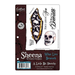 Sheenas A Little Bit Sketchy EZMount Stamps 5.5 inch X8.25 inch What Lies Beneath
