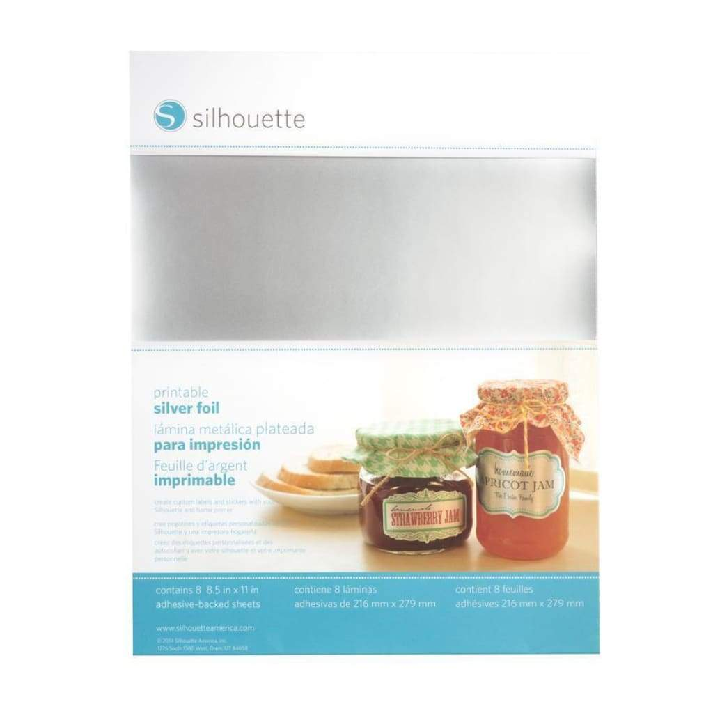 Silhouette Electronic Cutter - Printable Silver Foil Adhesive Sheets 8.5 X 11 Inch 8/Pk