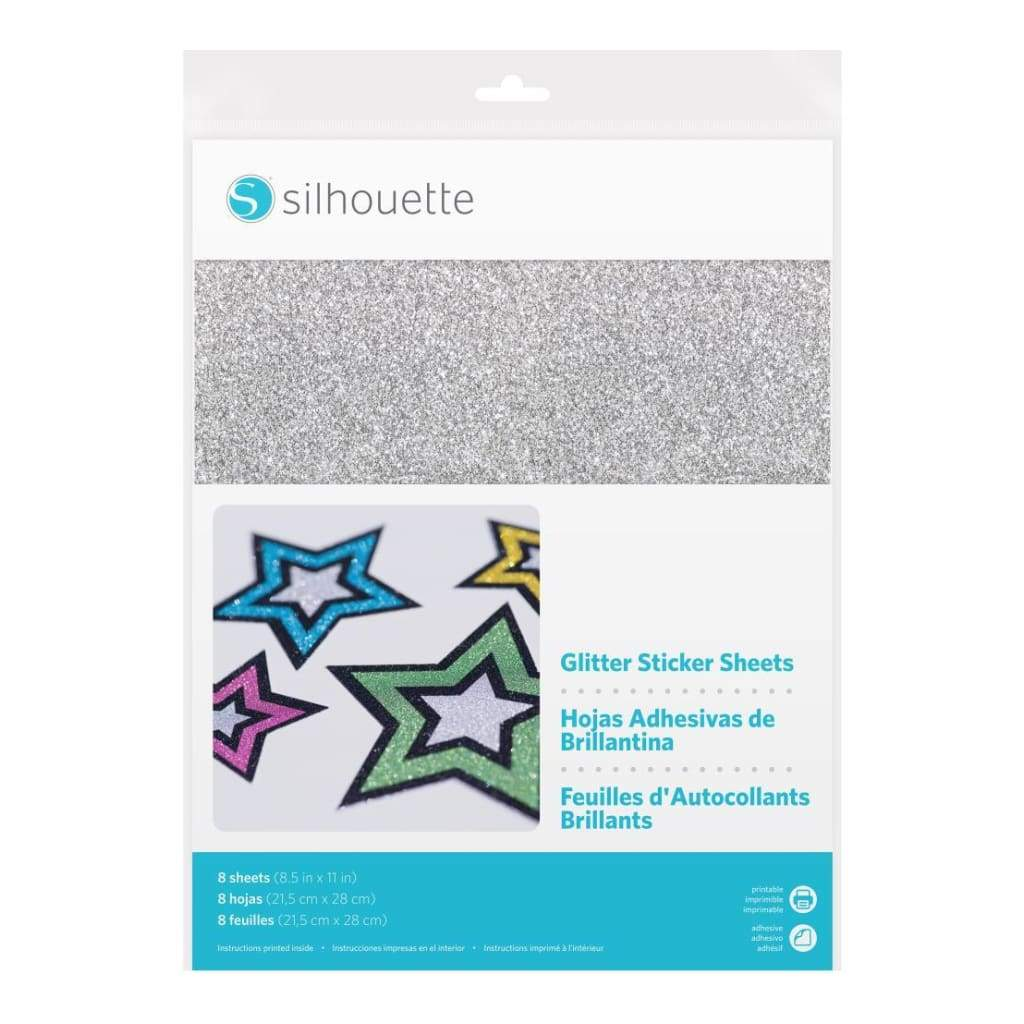 image about Printable Glitter Paper named Silhouette - Printable Glitter Sticker Paper 8 Pack