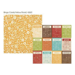 Simple Stories - Harvest Lane - Bingo Cards/Yellow Floral 12X12 Inch Double-Sided  Cardstock  (Pack Of 10)