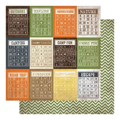 Simple Stories - Take A Hike - Bingo Cards/Chevron 12X12 Inch Double-Sided  Cardstock  (Pack Of 10)