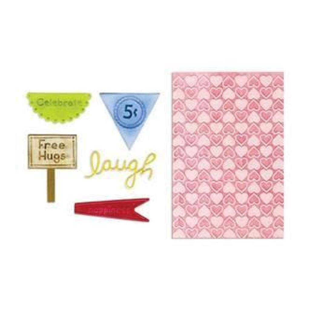 Sizzix - Framelits - Die Set 5Pc With Textured Impressions - Happy