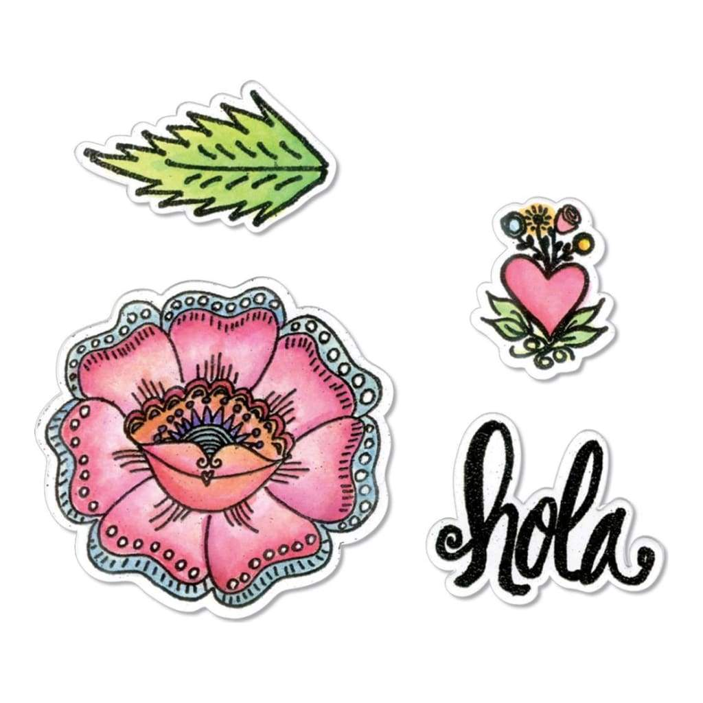 Sizzix Framelits Die & Stamp Set By Crafty Chica 4 pack Hola Flower