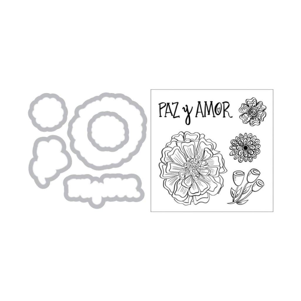 Sizzix - Framelits Die & Stamp Set By Crafty Chica - Paz & Amor (Peace & Love)
