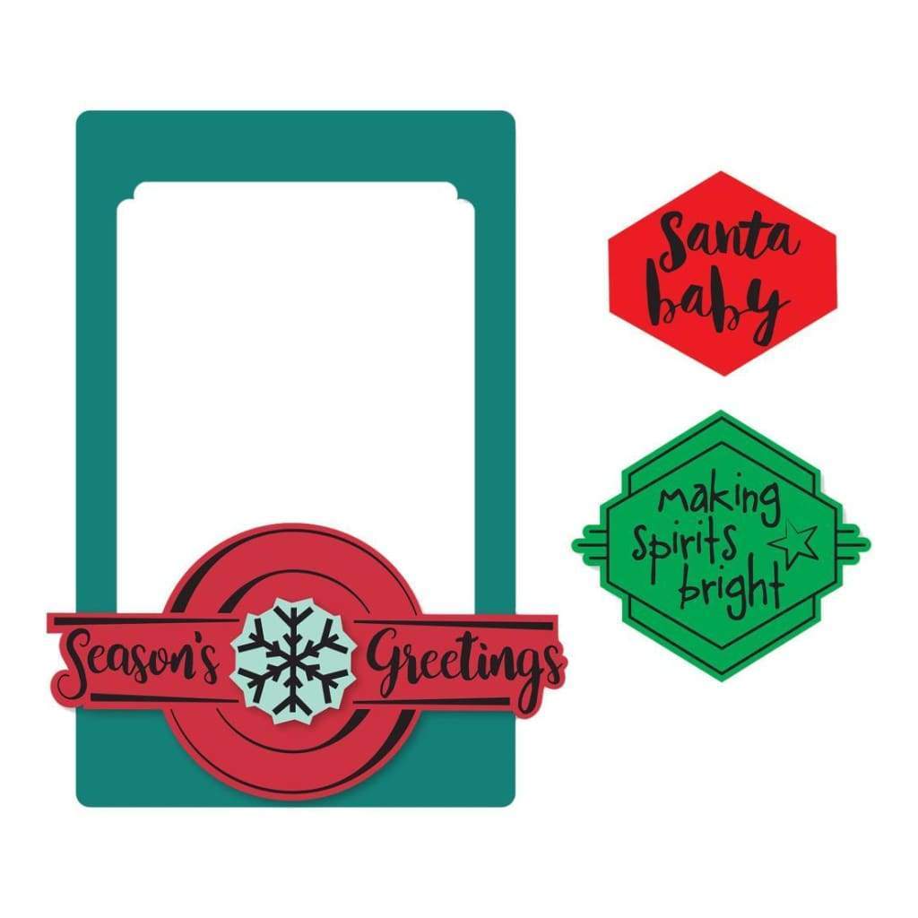 Sizzix Framelits Die & Stamp Set By Lynda Kanase Photo Frame, Seasonal Phrases