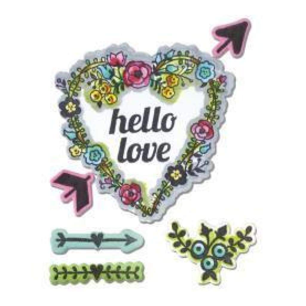 Sizzix Framelits Dies 4 Pack With Stamps Hello Love