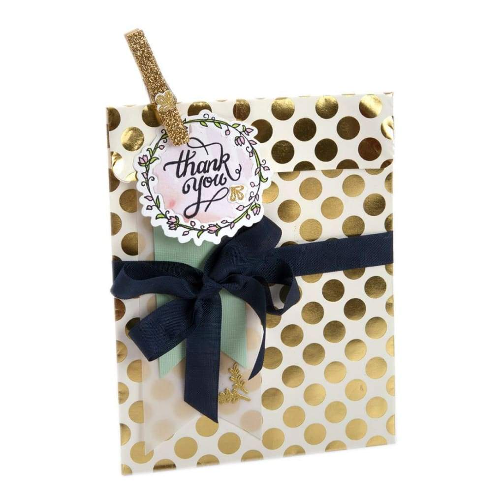 Sizzix Framelits Dies with Stamps By Lindsey Serata Thank You #2