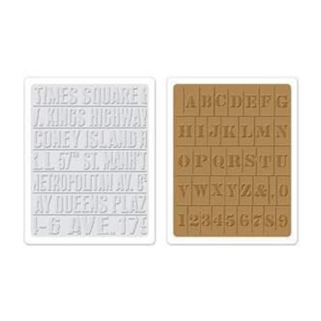 Sizzix Sale - Sizzix Texture Fades Embossing Folder 2Pk - Subway & Stencil Set B