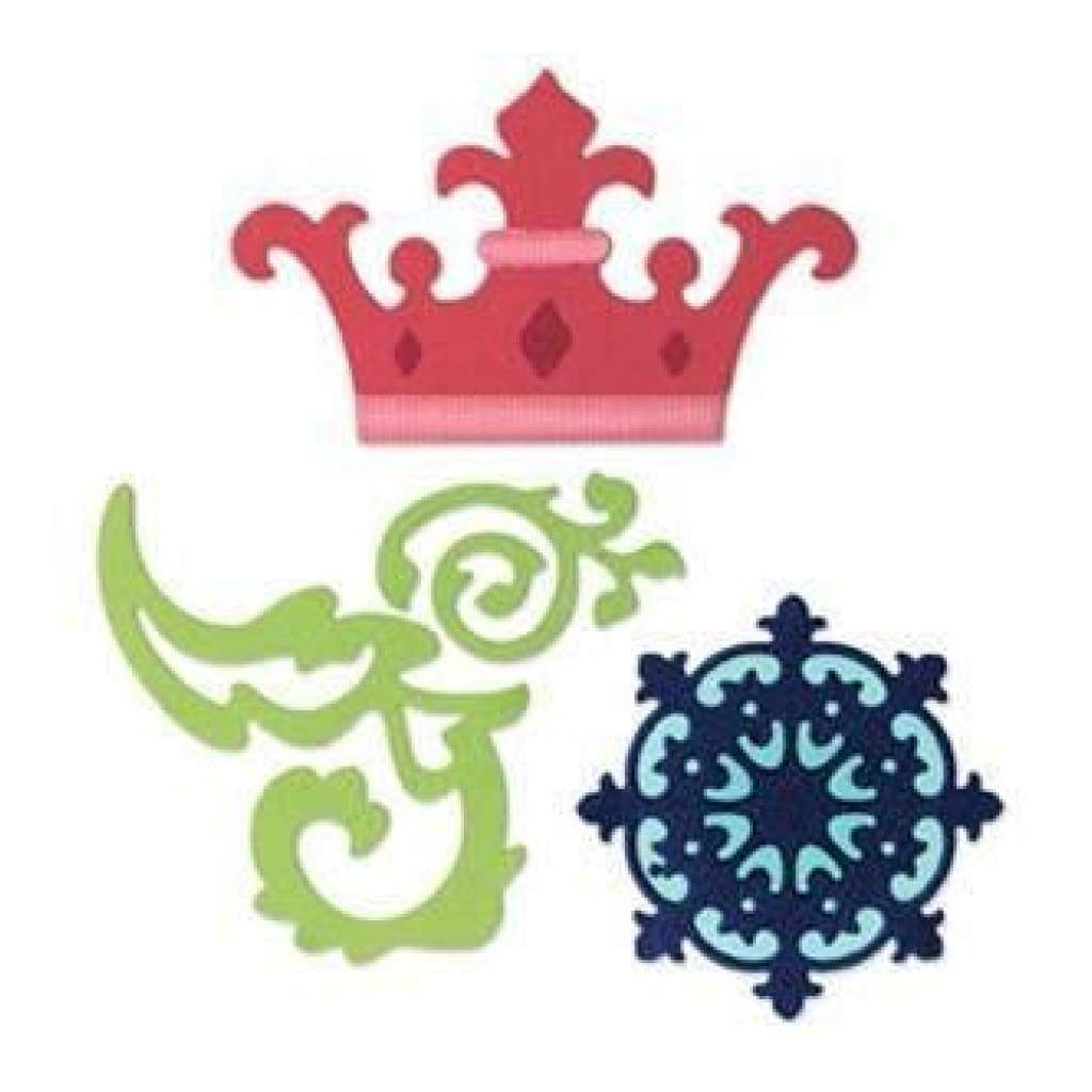 Sizzix - Sizzlits Decorative Set - 3 Dies - Crown- Medallion & Scrolls By K