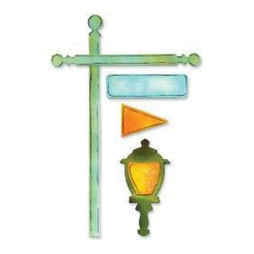 Sizzix Sizzlits Decorative Strip Die 12.625 inch X2.375 inch Flagpole W/Lantern & Sign