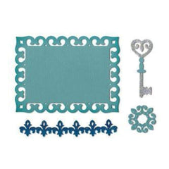 Sizzix - Thinlits Die - Die Cutting Template - By Rachael Bright - Border Label Medallion & Key