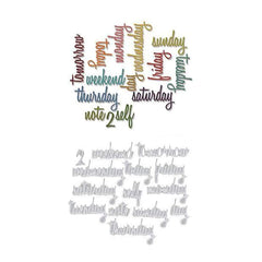 Sizzix Thinlits Dies 14 Pack  By Tim Holtz Script Daily Words