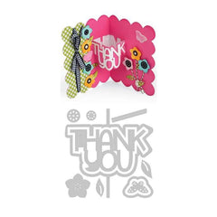 Sizzix Thinlits Dies 9 Pack  By Stephanie Barnard Thank You Sentiments Drop-Ins Card