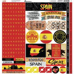 Reminisce Alpha Combo Cardstock Stickers 12in x 12in Spain