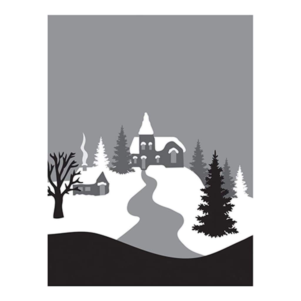 Spellbinders 3D Cling Stamp 4 inch X5.75 inch Winter Village