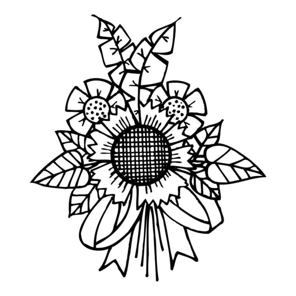 Spellbinders Cling Stamp 2.75 inch X4 inch Sunflower Bunch