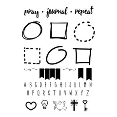 SRM Bible Journaling Clear Stamps 4 inch X6 inch Pray, Journal, Repeat
